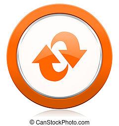 segno, rinfrescare, arancia, rotazione, icona