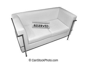 segno riservato, bianco, sofà cuoio