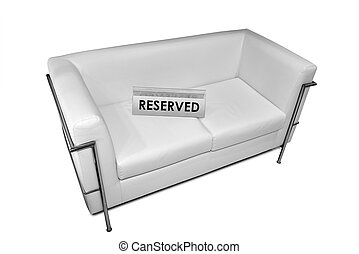 segno, riservato, divano, cuoio, bianco