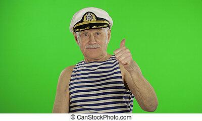segno., sailorman, baffi, mostra, pollici, uomo, su., vecchio, marinaio, anziano, ok