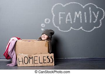 segno, scatola carta, ragazza, senzatetto, sorridente, seduta