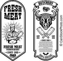 segno, set, macello, distintivo, etichetta, elemento, disegno, flyers., vendemmia, logotipo, negozio, poster., carne