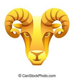 segno, simbolo., oroscopo, ariete, zodiaco, dorato