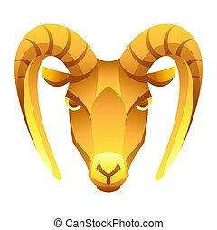 segno, simbolo., oroscopo, capricorno, zodiaco, dorato