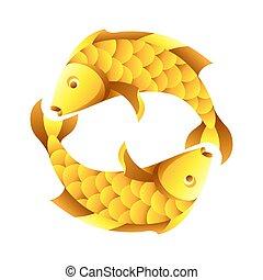 segno, simbolo., oroscopo, pesci, zodiaco, dorato