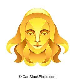 segno, simbolo., oroscopo, vergine, zodiaco, dorato