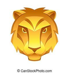 segno, simbolo., oroscopo, zodiaco, leo, dorato
