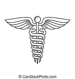 segno, stile, vettore, Caduceo, linea, medico