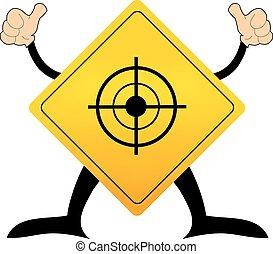 segno strada, bersaglio, giallo, pictogram