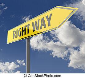 segno strada, con, parole, giusto senso