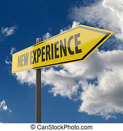 segno strada, con, parole, nuovo, esperienza