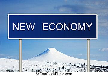 segno strada, con, testo, nuovo, economia