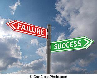 segno strada, concetto, con, parole, fallimento, e, successo