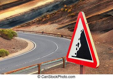 "segno strada, ""falling, stones"", tenerife, canarino, spagna"