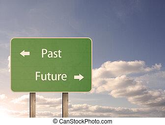 segno strada, futuro, passato