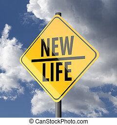 segno strada, giallo, con, parole, vita nuova