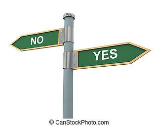 segno strada, sì, e, no