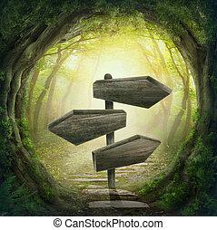 segno strada, scuro, foresta