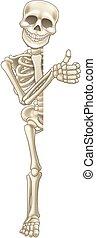 segno, su, cartone animato, halloween, pollici, scheletro