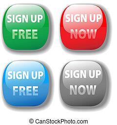segno, su, ora, libero, sito web, icona, bottone, set