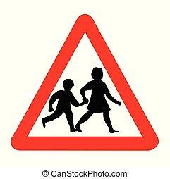 segno, traffico, isolato, bambini
