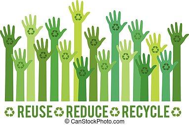 segno, verde, riciclare, set, mani, vettore