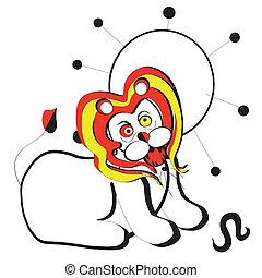 leone - segno zodiacale del leone, astratto, isolato su...