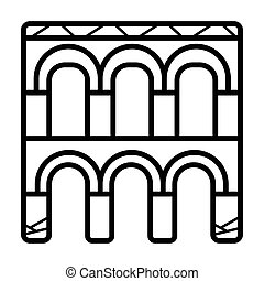 Segovia aqueduct icon vector