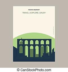 Segovia Aqueduct, Spain Vintage Style Landmark Poster Template