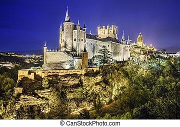 Segovia, Spain Alcazar at Night - Segovia, Spain town...