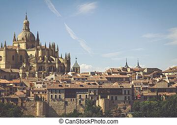 Segovia, Spain. Panoramic view of the historic city of Segovia skyline with Catedral de Santa Maria de Segovia, Castilla y Leon.