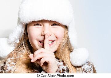 segredos, menininha, feliz
