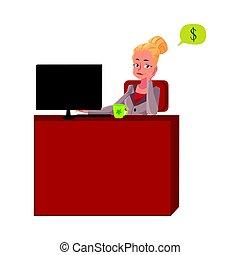 segretario, ufficio, seduta, pensare, soldi, giovane, donna d'affari, scrivania