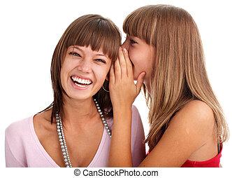 segreti, bisbigli, amica, donna