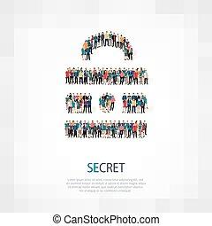 segreto, folla, persone