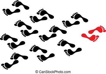 segue, conceito, torcida, mostrar, follows., pegadas, footmark, fluxo, contra, individualidade, pessoa, enquanto, determinado, pretas, maré, maneira, caminho, levado, rebelião, líder, vermelho
