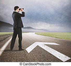 seguir, camino, éxito