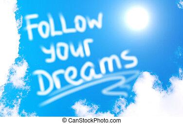 seguir, concepto, su, sueños