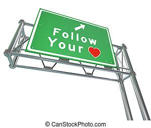 seguir, seu, coração, sinal, -, intuição, chumbos, para, futuro, sucesso