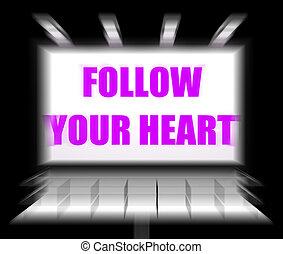 seguir, seu, coração, sinal, monitores, seguindo,...