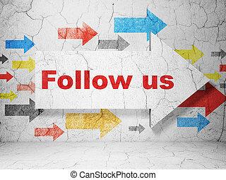 seguire, ci, concept:, sociale, fondo, rete, grunge, parete, freccia