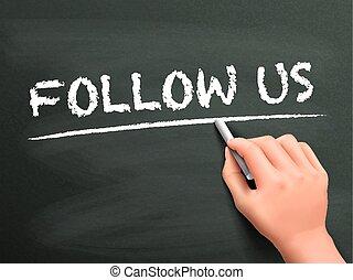 seguire, ci, parole, mano scritta