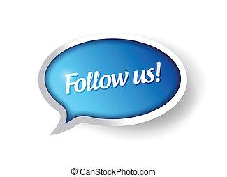 seguire, messaggio, bolla, ci, comunicazione
