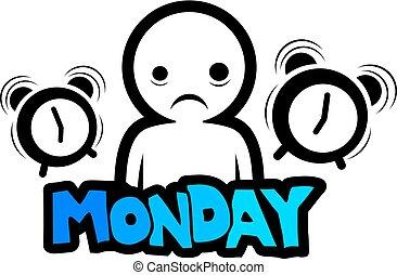 segunda-feira, ilustração, manhã
