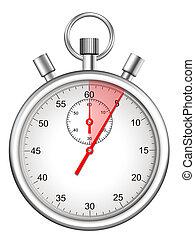segundos, destacado, cinco, período, cronómetro