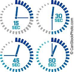 segundos, relógio, ícones
