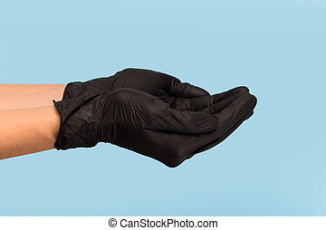 segura, azul, seu, cima, lata, mão, escarneça, médico, inserção, pretas, experiência., luva, tu, produto, objeto, anunciando