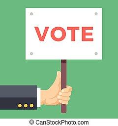 segura, mão, voto, vetorial, board., sinal