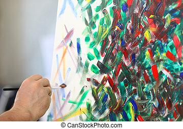 segura, quadro, tintas, artista, escova, lona.