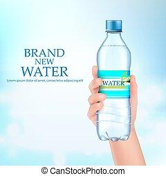 segura, water., garrafa, mão